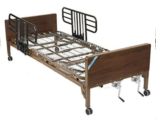 Drive Medical Manual Hospital Bed, Brown, Half Rails and No Mattress, 36 Inch
