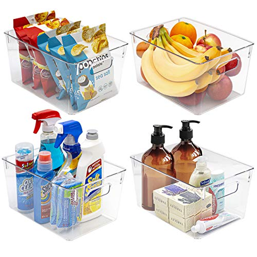 Sorbus - Contenedores de plástico transparente cuadrado organizador con asas - Versátil para cocina, nevera, clóset, despensa, organización de baño, Transparente, 4 paquetes