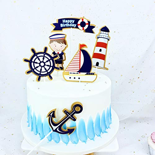 PureArte DIY Happy Birthday Ocean Sailing Yacht Boat Nautical Pirate Ship Theme Cake Cupcake Topper For Kids Party Decoration Props