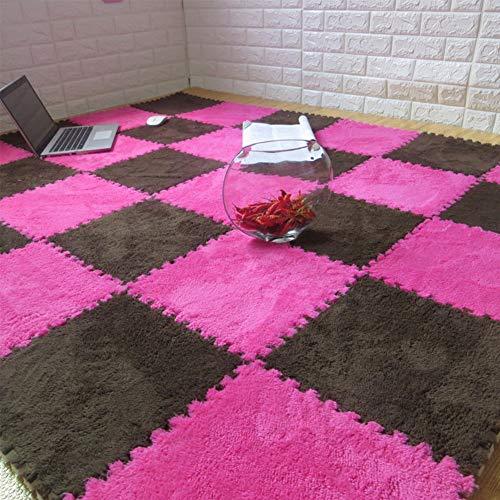 TriGold Puzzle Bereichswolldecke, Stellwerk Schaum Stock Teppiche 10 Stück Flauschiger Teppiche Für Kinder Langflor Nicht-Slip Nicht-giftig Kinderzimmer Schlafzimmer Teppiche -c 30x30cm(12x12inch)