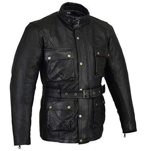 Biker Gear \ Klassische Vintage Trail Blazer CE1621-1 PU Rüstung Motorrad Gewachste & geölte Alter behandelt Lederjacke - Schwarz - XL
