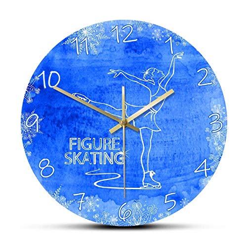 mazhant Eiskunstlauf Gedruckte Wanduhr Lady Skater Nicht tickende runde Uhr Sportuhr Modernes Design Wohnkultur-30X30cm