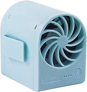CJW Nuevo USB Mini Fan Viaje a casa Mano Lindo Fan de Dibujos Animados (Color : Blue)