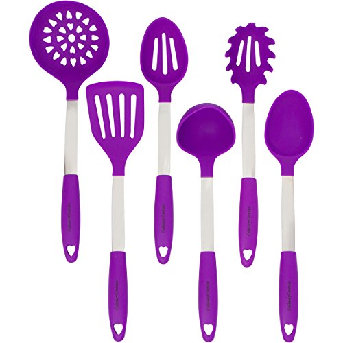Purple Cooking Utensils Set - Stainless Steel & Silicone Heat Resistant Professional Cooking Tools - Spatula, Mixing & Slotted Spoon, Ladle, Pasta Fork Server, Drainer - Bonus Ebook