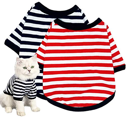 Dog Shirts Pet Clothes Striped Clothing, 2 Pack Puppy Vest T-Shirts Outfits for Cat Apparel, Doggy Breathable Cotton Shirts for Small Medium Large Dogs Kitten Boy and Girl (Black+Red, Medium)