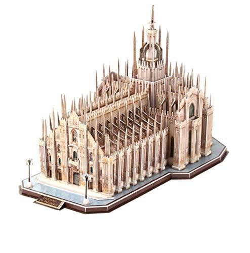 Zulux 3D Tridimensionale Puzzle di Legno Puzzle educativi per Bambini Giocattoli Fatti a Mano Duomo di Milano Modello architettonico