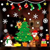 WELLXUNK Pegatinas Ventanas Navidad, Decoracion Navidad Pegatinas, Pegatina Calcomanía de Ventana, Pegatinas de Navidad Adornos, Pegatinas Ventana de Cristal, Copo Nieve Estática Pegatina (D)