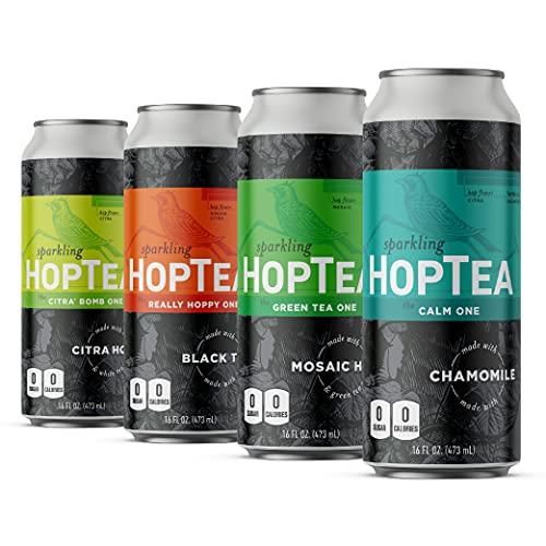 HOPLARK Sparkling HopTea - The Core Mixed Pack (12, 16oz Cans) - Craft Brewed Iced Tea - Organic, Gluten-Free, Non GMO, Zero Calories, Sugar-Free, Unsweetened