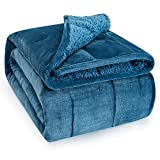 Wemore Sherpa Fleece Weighted Blanket for Adult, 15 lbs Dual Sided Cozy Fluffy Heavy Blanket, Ultra Fuzzy Throw Blanket with Soft Plush Flannel Top, 60 x 80 inches Slate Blue on Both Sides