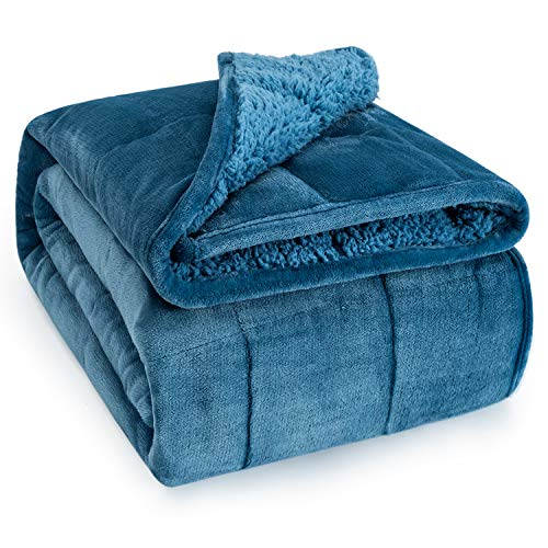 Wemore Sherpa Fleece Weighted Blanket for Adult, 15 lbs Dual Sided Cozy Fluffy Heavy Blanket, Ultra Fuzzy Throw Blanket with Soft Plush Flannel Top, 60 x 80 inches, Slate Blue on Both Sides