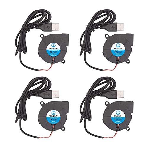 WINSINN Ventilador USB de 50 mm, 5 V, 5015, 50 x 15 mm, turbina de doble rodamiento de bolas, sin escobillas (paquete de 4 unidades)
