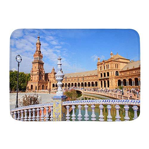 N / A Alfombra de baño Alfombra, Famosa Plaza de España Sevilla España. Old Landmark, felpudos tapetes Decorativos para baño con Respaldo Antideslizante