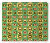 Alfombrilla de ratón geométrica, diseño retro de cuadrados en tonos naturales, alfombrilla de goma rectangular antideslizante, tamaño estándar, mar verde pálido tierra amarillo malva siena quemada gri