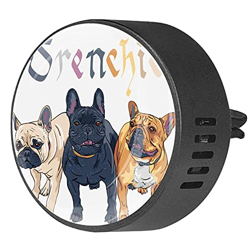 2 Packs Car Diffuser With Clip Air Fresheners,French bulldog ,Aromatherapy Essential Oil Portable for bedroom