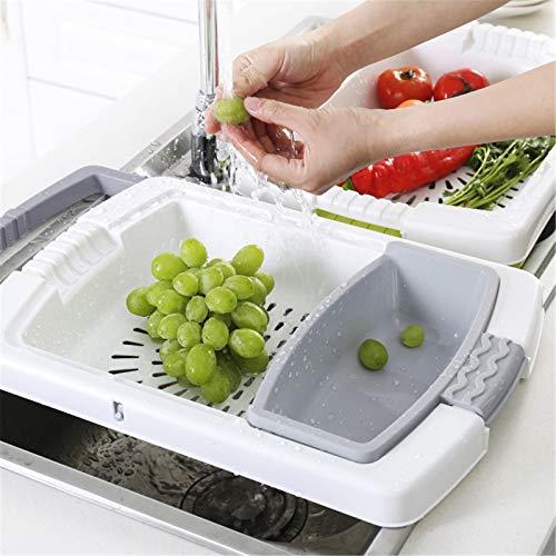 Vobajf Tabla de cortar, tabla de cortar multifuncional, tabla de cortar de cocina, tabla de drenaje superpuesta (color: gris, tamaño: 8,7 x 48 cm)