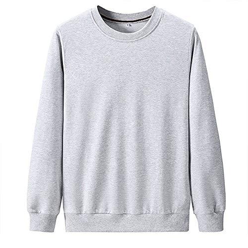 WANCHDP Sudadera de manga larga para hombre, 100 % algodón, cuello redondo, con forro de terciopelo grueso, para todo tipo de deportes, jersey cálido gris XXXXL