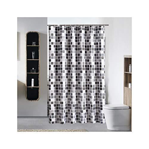 MaxAst Plaid Negro Blanco Cortina de Ducha Anti-Moho, 150x200CM Cortina de Baño Antibacteriano Impermeable