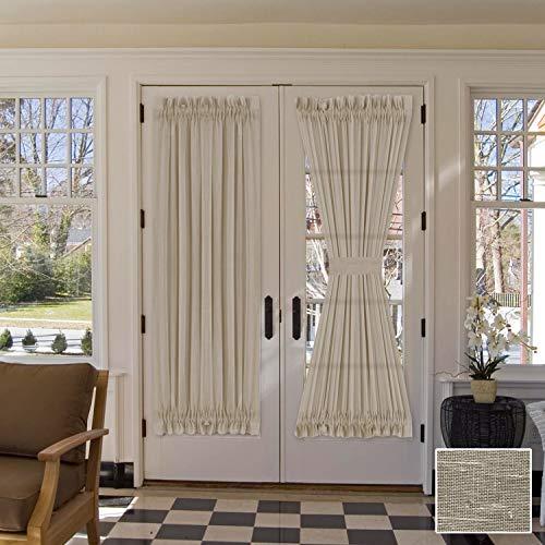 "H.VERSAILTEX Linen French Door Curtains Privacy Light Reducing Door Curtain with Tieback | Rod Pocket Curtain 1 Panel for Glass Door Feature Open Weave Textured Linen - 52""x72"" - Taupe"