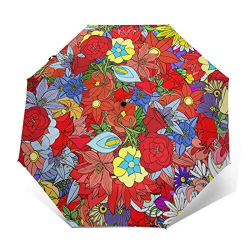 Paraguas automático de tres pliegues para jardín con cierre automático que puede prevenir el viento, la lluvia y los rayos UV.