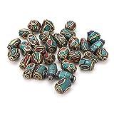 PandaHall 50PCS gemischte antike goldene handgemachte Perlen im tibetischen Stil, Messing mit Nachahmung Koralle und Türkis