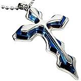 YZG ネックレス クロス 十字架 ステンレススチール メンズ/レディース ブルー&シルバー