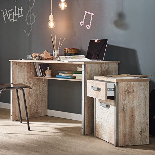Lomadox Schreibtisch Set mit Rollcontainer in findusschalung Jugendzimmer PC und Computerschreibtisch Vintage Büro Set