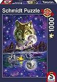 Schmidt Spiele Puzzle 58233 Puzzle 1.000 Teile, Wolf im Mondlicht
