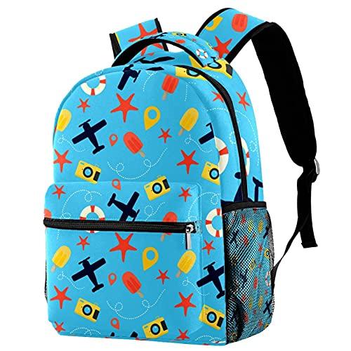 Mochilas de viaje para campus de ocio, para viajes, cámara de estrellas de mar, bolsas azules con soporte para botellas para niñas y niños