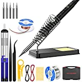 Soldering Iron Kit Electronics, 60W Adjustable Temperature Welding Tool, with ON/Off Switch, 5pcs Soldering Iron Tips, Solder Wire, , Desoldering Pump, Wick, Soldering Stand, Tweezers [110V, US Plug]