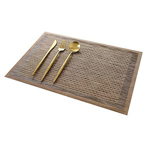ZZHU Tapis de Table Isolant en PVC de Couleur Unie Japonais de Haute qualité, Ensemble de 6 pièces, Brun