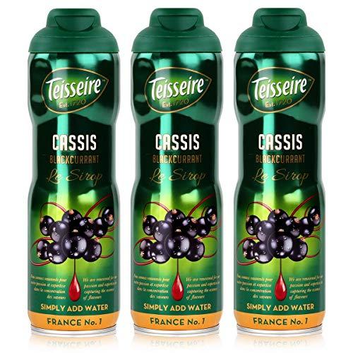 Teisseire Getränke-Sirup Cassis/Schwarze Johannisbeer 600ml - Sirup der genauso schmeckt wie die Frucht (3er Pack)