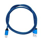 Cell-Stuff Blue Braided 3 FT Charging Cable for CAT S48C Smartphone and Similar Type-C USB Compatible Cell Phones