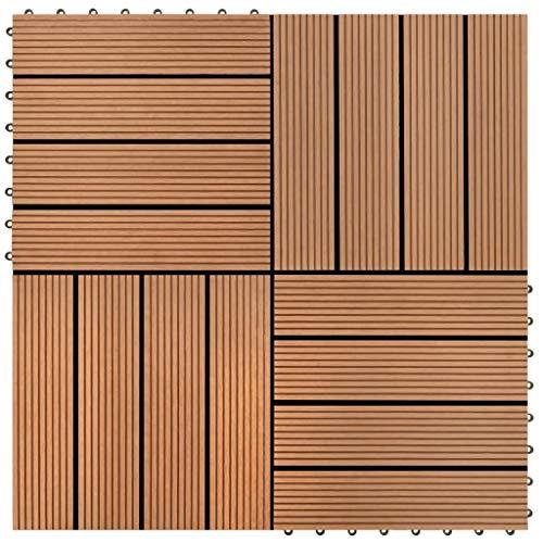 HUANGDANSP Baldosas de WPC 30x30 cm 11 Unidades 1 m² marrón Bricolaje Materiales de construcción Suelos y moquetas