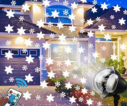 Proyector de luz navideña, EONYUANGUO Proyector de copo de nieve con control remoto y temporizador para exteriores, luces de nevadas en interiores para la fiesta de navidad (A modelo)