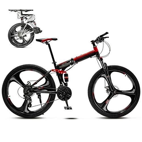 YRYBZ 24 Pulgadas 26 Pulgadas Bicicleta de Montaña Unisex, Bici MTB Adulto, Bicicleta MTB Plegable, 30 Velocidades Bicicleta Adulto con Doble Freno Disco/Rojo/A Wheel / 26''