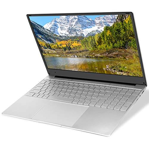 YELLYOUTH Laptop 15.6 inch Notebook Intel CPU Quad Core 8GB RAM 128GB SSD Full HD IPS with WiFi Bluetooth Mini HDMI Windows 10 Laptop Computer PC Silver