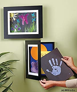 Easy Change 9x12 Artwork Frame w/Storage Black Holds 50 Pcs Kid Hanging Art