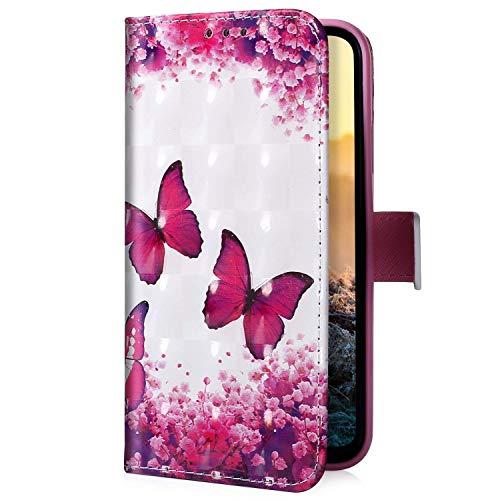 Uposao Kompatibel mit Xiaomi Redmi 7A Handyhülle Handytasche Glitzer Bling Glänzend Bunt Muster Schutzhülle Flip Case Brieftasche Klapphülle Leder Hülle Cover,Schmetterling Kirschblüte