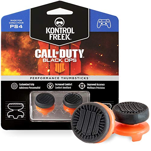 KontrolFreek Call of Duty: Black Ops 4 for PlayStation 4 (PS4) and PlayStation 5 (PS5) | Performance Thumbsticks | 2 High-Rise | Black/Orange