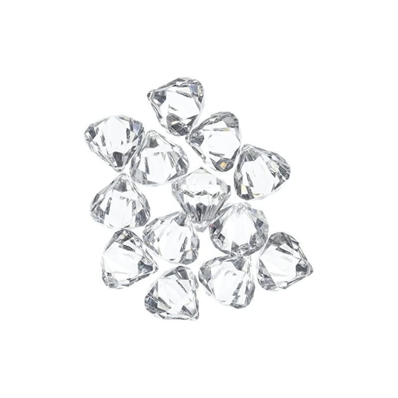 silk flower arrangements acrylic clear ice rock diamond crystals treasure gems for table scatters, vase fillers, event, wedding, arts & crafts, birthday decoration favor (60 pieces)