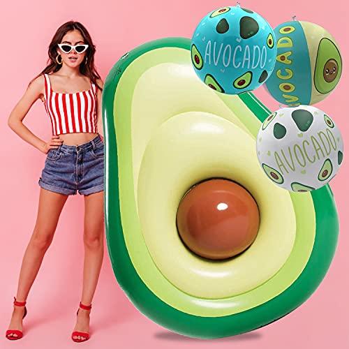 Flotador Inflable para Piscina de Aguacate + Juego de 3 Bolas de Aguacate