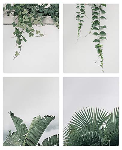 Set de 4 Affiches d'art Mural Plante Feuilles Vertes,Nature Plante Art Poster,Impression sur Toile Verte Feuilles Tropical Tableaux Déco,Moderne Minimaliste Plante Mur Peintures pour Salon Chambre