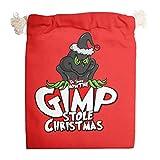 Grin-ch Marry - Sacchetti di tela lavabili per regali di Natale per feste di Capodanno, confezione da 6 pezzi
