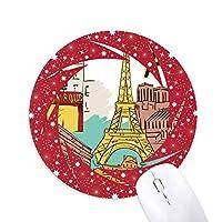 フランスパリエッフェル塔の水彩画 円形滑りゴムの赤のホイールパッド