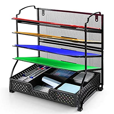 Simple Trending 5-Trays Mesh Desk File Organizer Vertical Document Letter Tray Wall File Holder with Plastic Drawer Organizer for Office Home