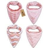 iZiv Baberos del Bebé - Paquete de 4 Diseños Pañuelo con Snaps Ajustables, TPU Impermeable Guarnición para niño 0-2 años (Color-3)