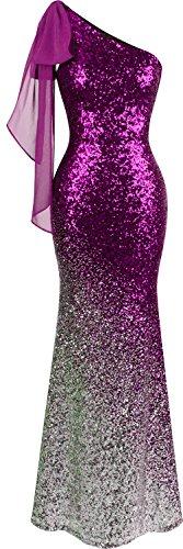 Angel-fashions Damen-Kleid, asymmetrisch, Schleife, Farbverlauf, Pailletten, Meerjungfrau, langes Ballkleid - Violett - Klein