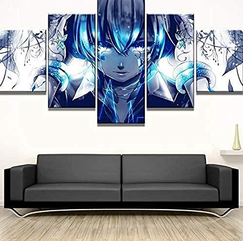 5 Piezas Lona Murales Cuadro Moderno Lienzo Póster Hatsune Miku Anime Girl Arte Pared Alta Definición Pintura Decorativa Home Dormitorio Óleo Lona Pintura Mural Regalos(Enmarcado)