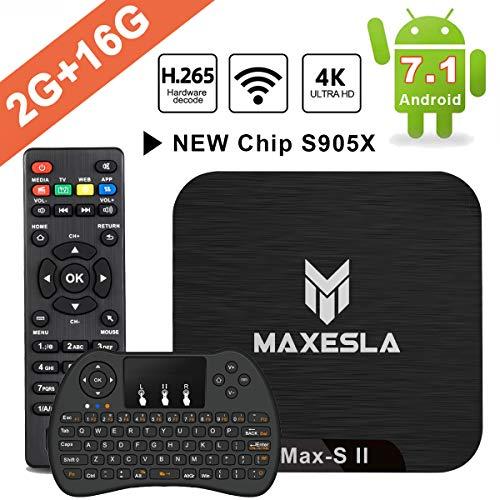 Android 7.1 TV Box – Maxesla MAX-S II Smart TV Box mit 2GB Ram + 16GB eMMC, Neueste CPU Amlogic S905X, 4K UHD / 2.4Ghz WiFi / H.265 / HDMI & AV / USB, WLAN TV Box mit Mini Wireless Tastatur