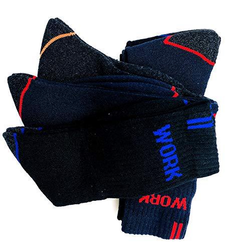 Penetra Moda 12 pares Calcetines de trabajo seguridad, talón y puntera reforzados, ideal para el uso de seguridad y para deportes de invierno o situaciones de frío y humado (388-12Pares)